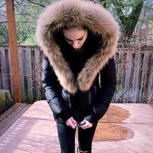 """AUTHENTIC FUR COLLARED """"ADALI STYLE""""MACKAGE JACKET"""